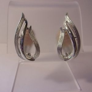 Sarah Coventry Stunning Silver Tone Clip Earrings